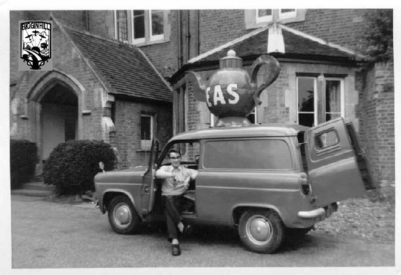 Pete in van with Teapot on roof